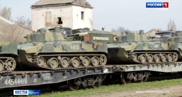 Военные готовят технику к отправке в пункты базирования после учений в Крыму