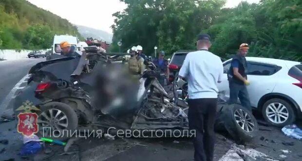 Оперативная съёмка с места аварии под Севастополем