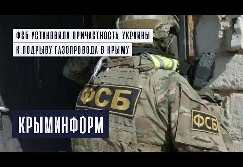 ФСБ установила причастность Украины к подрыву газопровода в Крыму